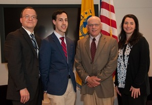 From left to right: Scott Steele, Ph.D.; Corey Hoffman; Stephen Ostroff, M.D.; Joan Adamo, Ph.D.