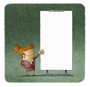 Confident businesswoman giving a presentation at white board
